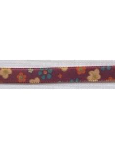 Ruban velour - bordeaux à fleur - 9 mm