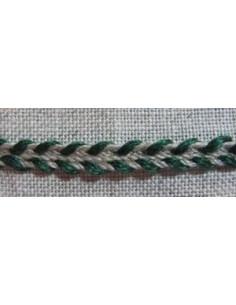 Galon de lin - nature et vert sapin 4mm