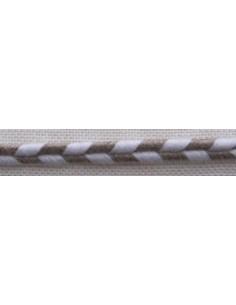 Galon de lin et coton Soutache nature et écru, 6 mm