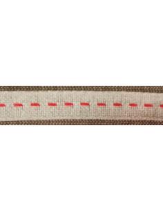 Galon de lin nature-rouge 10mm