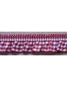 Ruban Vichy froncé - rouge-bordeaux - 20 mm