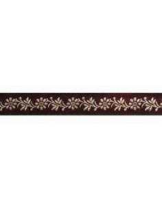 Ruban frise fleurs bordeaux/blanc - Col 19, 11 mm