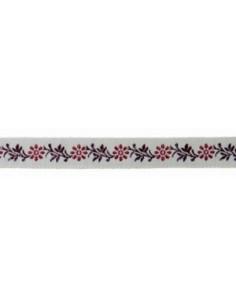 Ruban frise fleurs bordeaux/rouge - Col 15, 11 mm