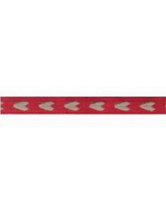 Ruban Coeur rouge/nat 11mm - Col 6