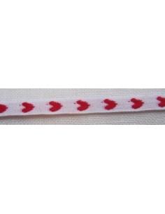 Galon ruban coton-polyester blanc à coeurs rouges, 8 mm