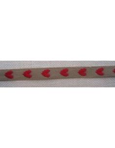 Galon ruban coton-polyester nature à coeurs rouges, 8 mm