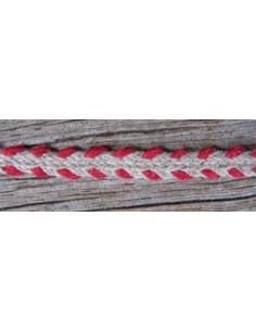 Galon de lin - nature et rouge 4mm