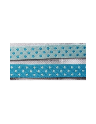 Ruban satin pois double face turquoise broderie passion for Boutis turquoise