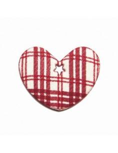 Coeur en tissu et feutrine - rouge et beige