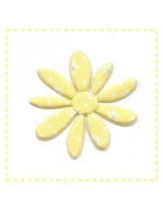 Fleur en tissu et feutrine - jaune