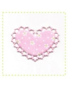 Coeur en tissu et feutrine - rose