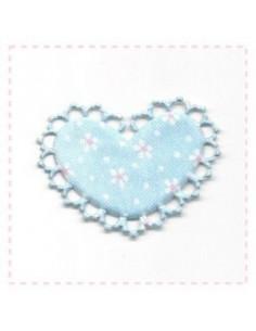 Coeur en tissu et feutrine - bleu