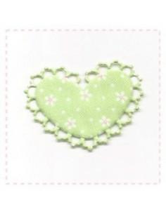 Coeur en tissu et feutrine - vert