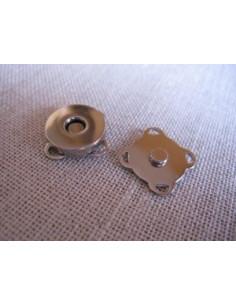 Bouton/fermoir magnétique à coudre - argenté - 14 mm