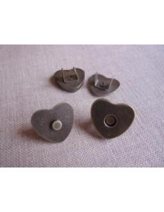 Bouton/fermoir magnétique en forme de coeur - bronze - 22 mm